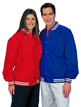 Cardinal Activewear Youth Light Lined Nylon Baseball Jacket with stripe knit trim