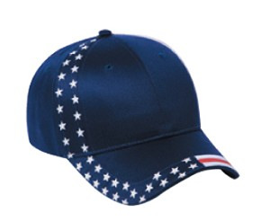United States Flag Design Cotton Twill Low Profile Pro Style Cap; Style 686US (Color Option 686US-004 - Navy with flag pattern shown)