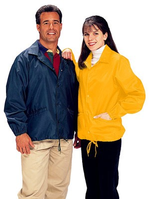 Cardinal Activewear Style 320 Unlined Coaches Jacket, shown in navy and gold; see description below