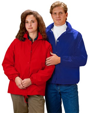 Cardinal Activewear Style 321 4XL & 5XL Light Lined Coaches Jacket, shown in Red & Royal; also available in Black & Navy; see description below