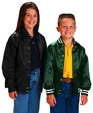 Cardinal Activewear Style 327Y  & 326Y Light Lined Youth Satin Baseball Jackets with solid knit trim shown in Black and striped knit trim shown in Kelly; also available in additional colors