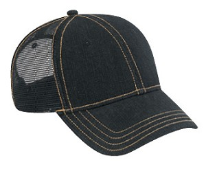 Washed Denim Low Profile Pro Style Mesh Back Cap, Style 622-003G (Black denim with white stitching shown)