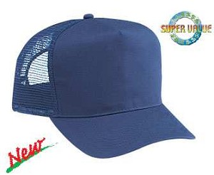 Cotton Twill 5 Panel Regular Profile Pro Style Adjustable Cap with mesh back, (Style 544-004 Navy shown)
