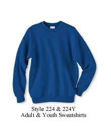 Style 224, Hanes Sweatshirt, shown in royal, available in adult and youth sizes (adult size shown)